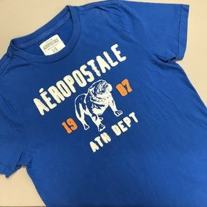 Aeropostale T Shirt Blue Bulldog Large Men's 1987